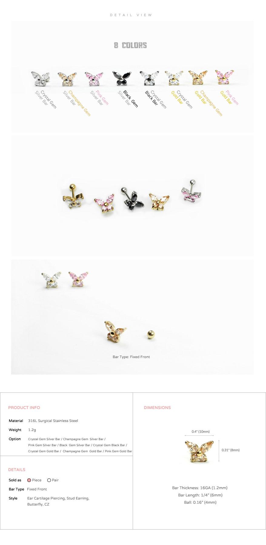 ear_studs_piercing_Cartilage_16g_316l_Stainless_Steel_earring_korean_asian_style_barbell_Butterfly_gem_cubic_cz_4