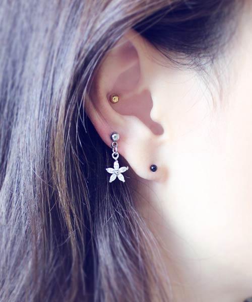 Cartilage Tragus Piercing Cherry Piercing Surgical Steels Cherry CZ stud Ear Piercing CZ Stud earrings Conch Tragus Helix Piercing