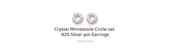 accessories_ear_stud_earrings_korean_asian-style_Crystal_Rhinestone_925-silver_Rhodium-Plated_Nickel-Free_Circle-set