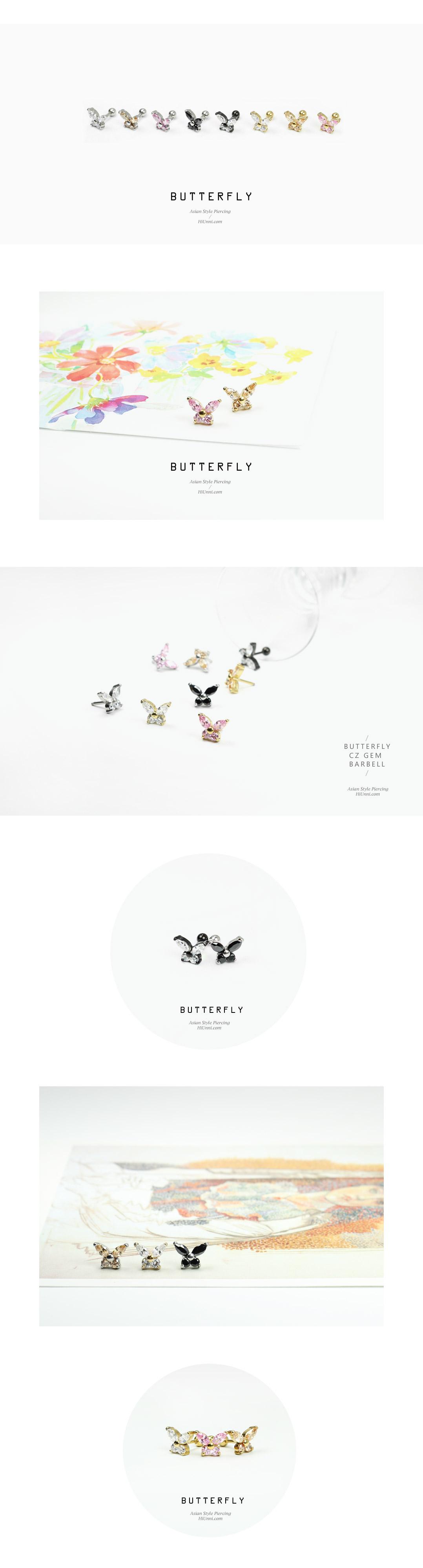 ear_studs_piercing_Cartilage_16g_316l_Stainless_Steel_earring_korean_asian_style_barbell_Butterfly_gem_cubic_cz_2