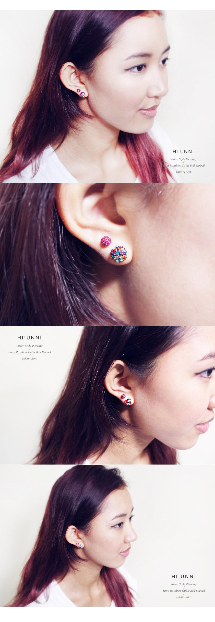 8mm_ear_studs_piercing_Cartilage_korean_asian_style_cubicball_barbell_Rainbow_4