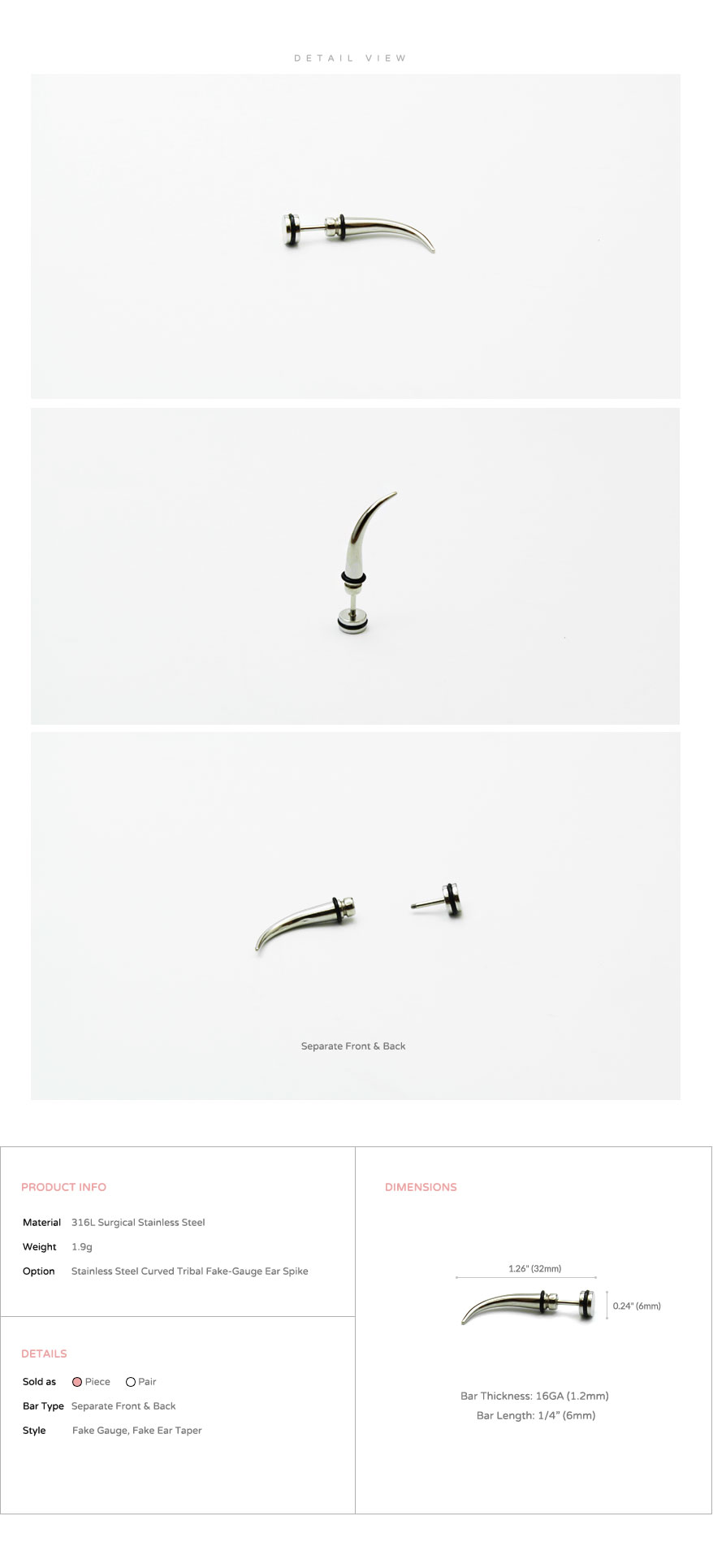 ear_studs_piercing_Cartilage_earrings_16g_316l_Surgical_Stainless_Steel_korean_asian_style_jewelry_curved_spike_fake_gauge_taper_4