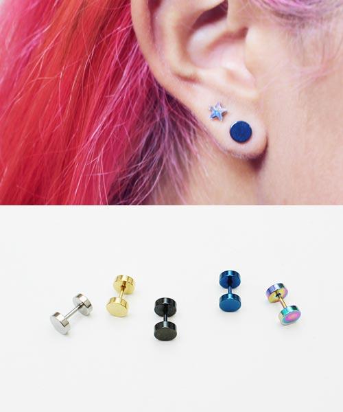 Pair 16ga Gemstone Barbell Fake Cheater Ear Plugs Studs Earrings Body PiercingAD