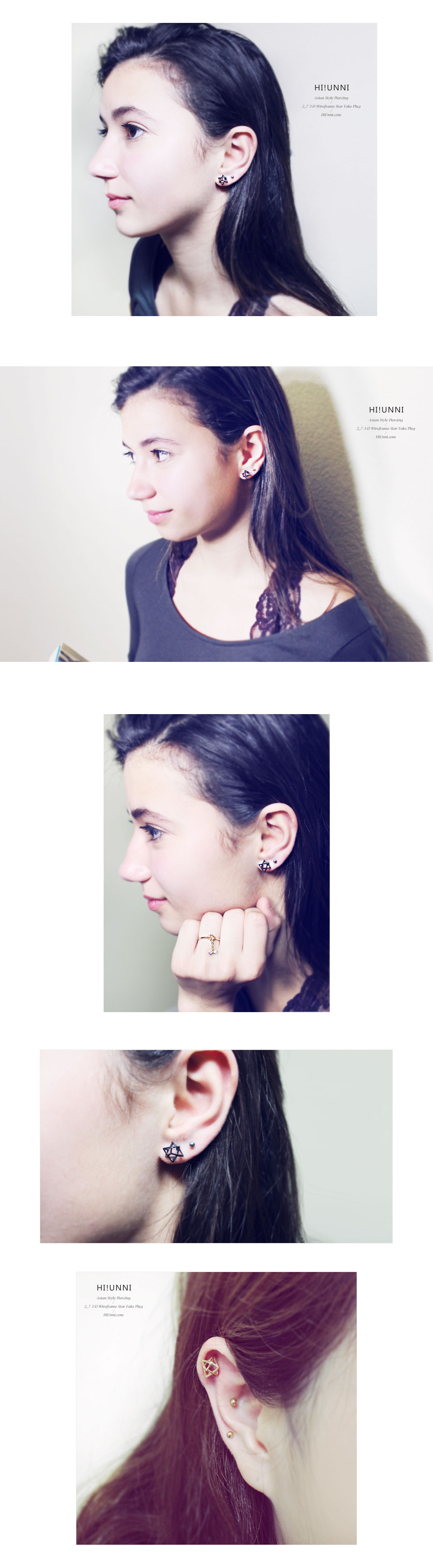 ear_studs_piercing_Cartilage_earrings_16g_316l_korean_asian_style_barbell_cheaters_fake_plug_3d_Wireframe_Star_2