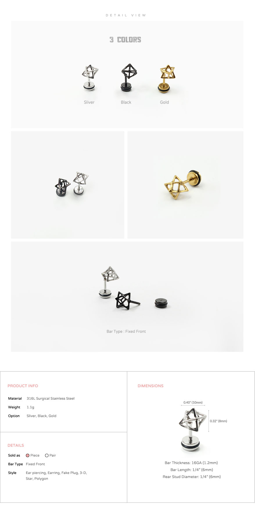 ear_studs_piercing_Cartilage_earrings_16g_316l_korean_asian_style_barbell_cheaters_fake_plug_3d_Wireframe_Star_3