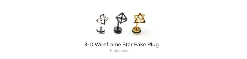 ear_studs_piercing_Cartilage_korean_asian_style_barbell_cheater_fake_plug_3d_Wireframe_Star
