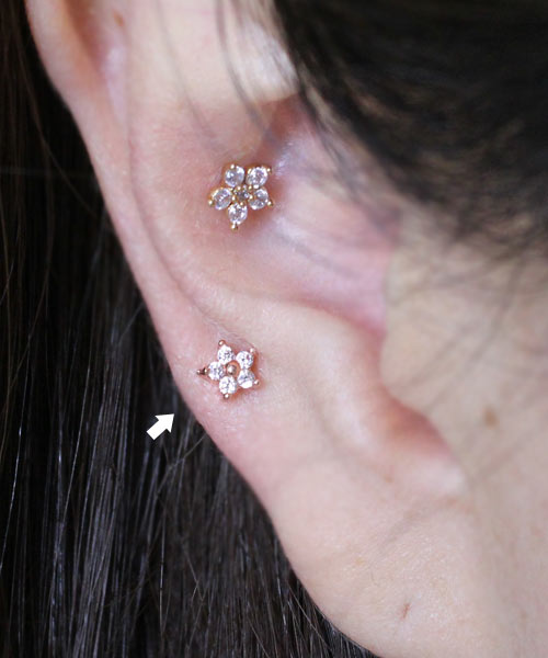 16G Three leaves Flower Stud Earring Cartilage EarringConch Tragus Helix piercing
