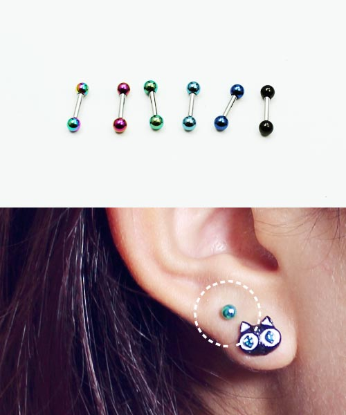 TITANIUM Studs TRAGUS CARTILAGE Helix Conch EAR Rings Barbell Piercings Jewelry