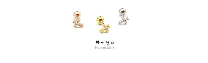 ear_studs_piercing_Cartilage_16g_316l_Stainless_Steel_earring_korean_asian_crystal_barbell_cz_cubic_zirconia_rosegold_cross_2