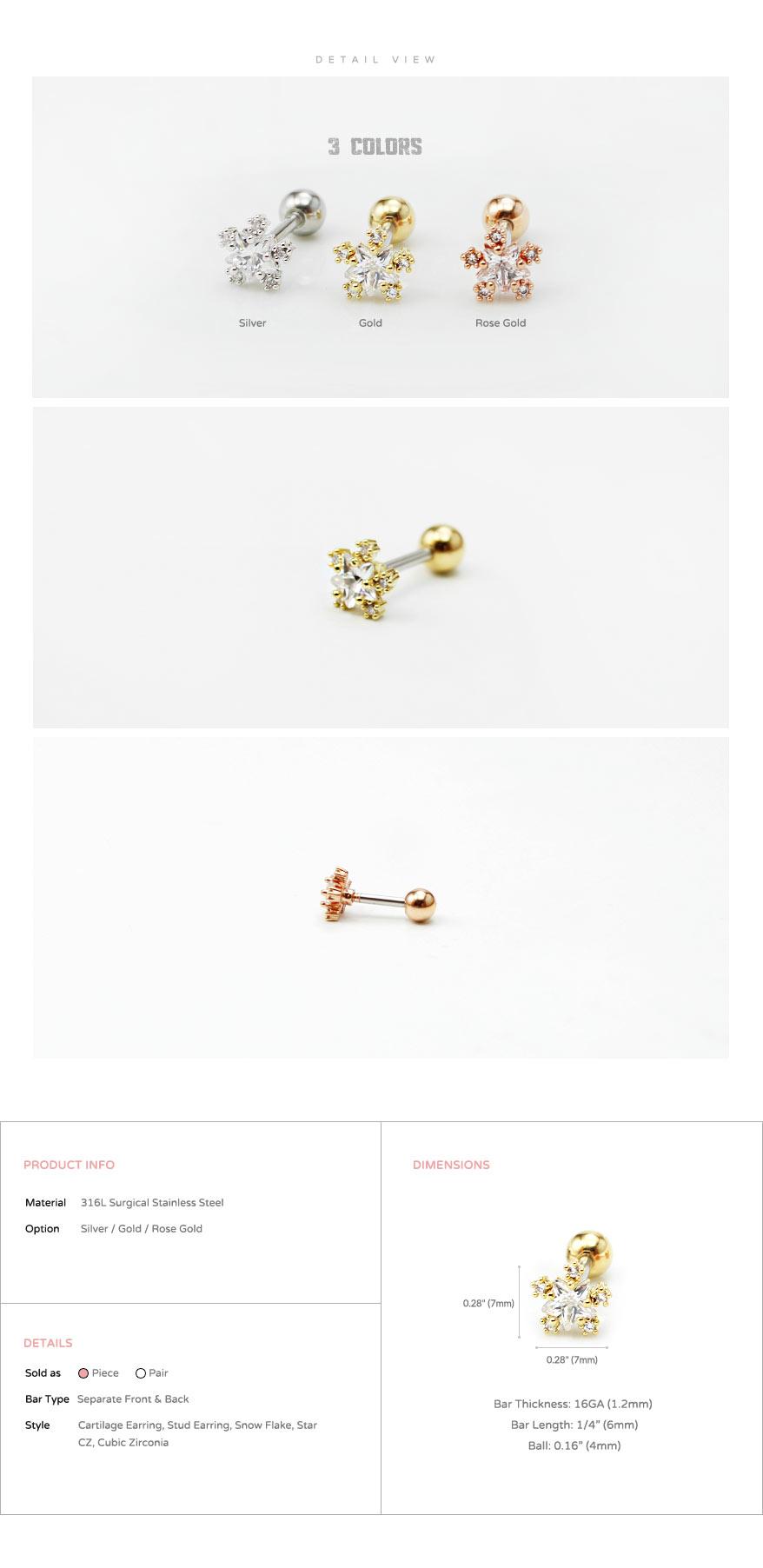 jewelry_earrings_stud_cartilage_piercing_16g_barbell_316l_cz_conch_helix_triple_star_flower_starflake_snow_snowflake_5
