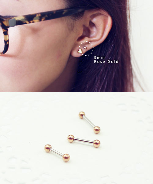 9e02397e4f431 16g tiny 3mm Ball Rose gold IP 316L Surgical Stainless Steel ear ...