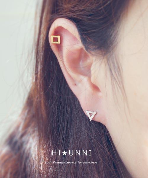 16g Flat Brushed Geometric Ear Piercing Stud Barbell Cartilage