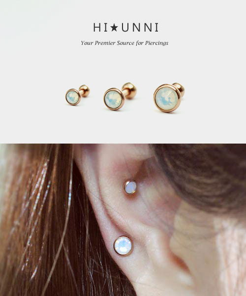 16G White Opal Stud Earring Cartilage Conch Tragus Helix Piercing