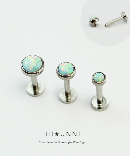 Tragus Jewelry Stud Cartilage Piercing Surgical Steel Internally Threaded Labret Helix Earring Stud Opal Conch Flat Back Earring
