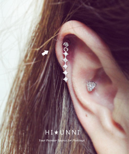 Cartilage Piercing Made to Order Helix Barbell Dangle Heart Crystal Barbell Tragus Barbell Helix Piercing Tragus Piercing