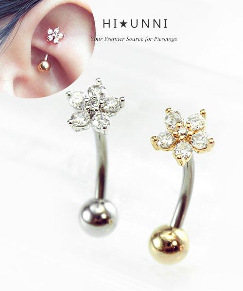 Curve Czech Crystal Earrings Stainless Ear Helix Conch Piercing Jewelry